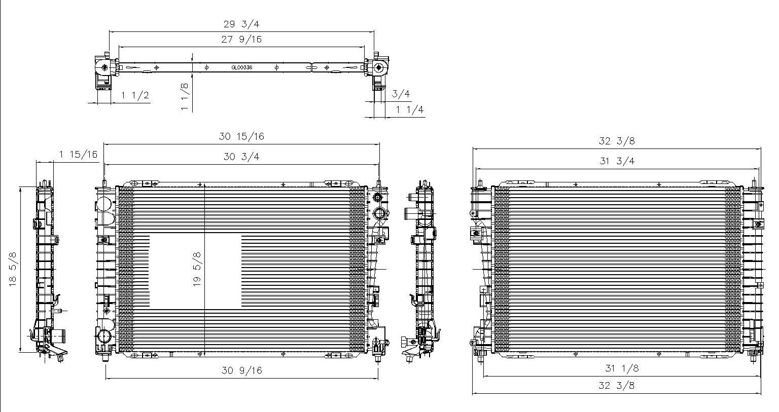 TYC # 13041 Radiator Replaces OE # 8L8Z 8005 B