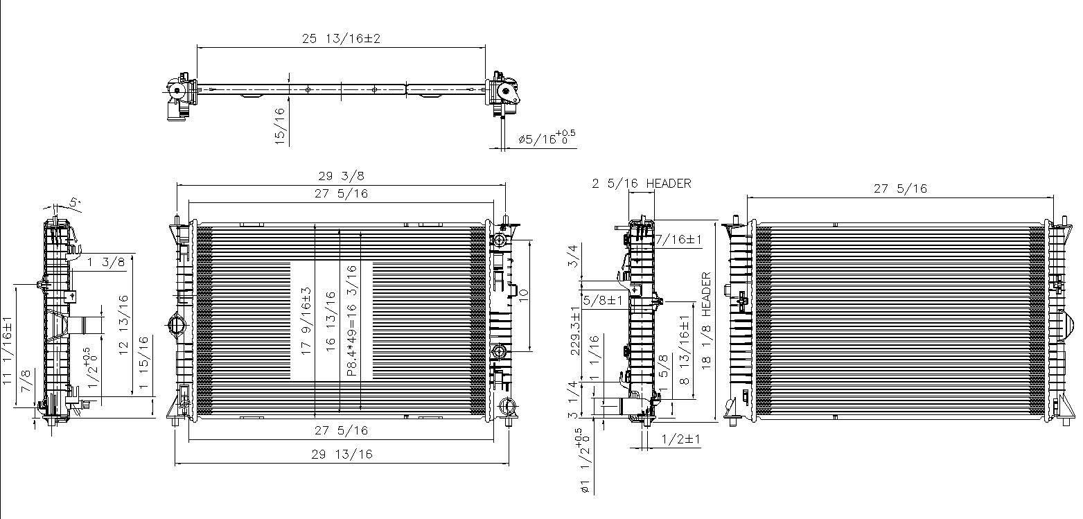 TYC # 13089 Radiator Replaces OE # CA07-15-200A