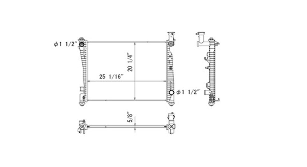 TYC # 13200 Radiator Replaces OE # 52014529AB
