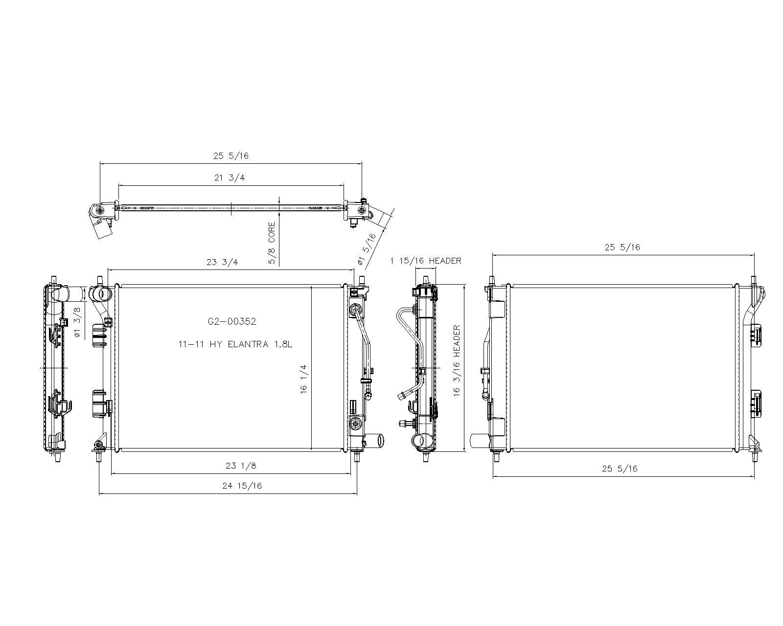 TYC # 13202 Radiator Replaces OE # 25310-3X100