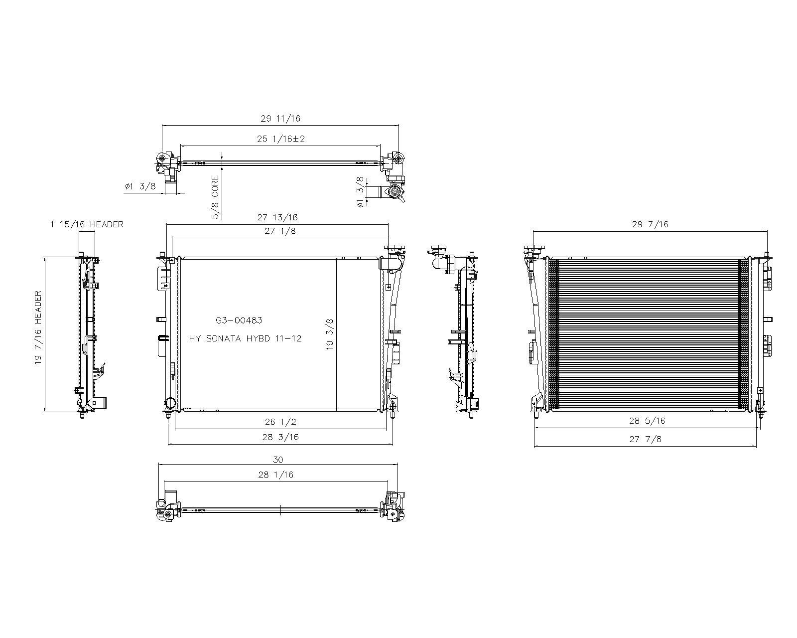 TYC # 13249 Radiator Replaces OE # 25310-4R000