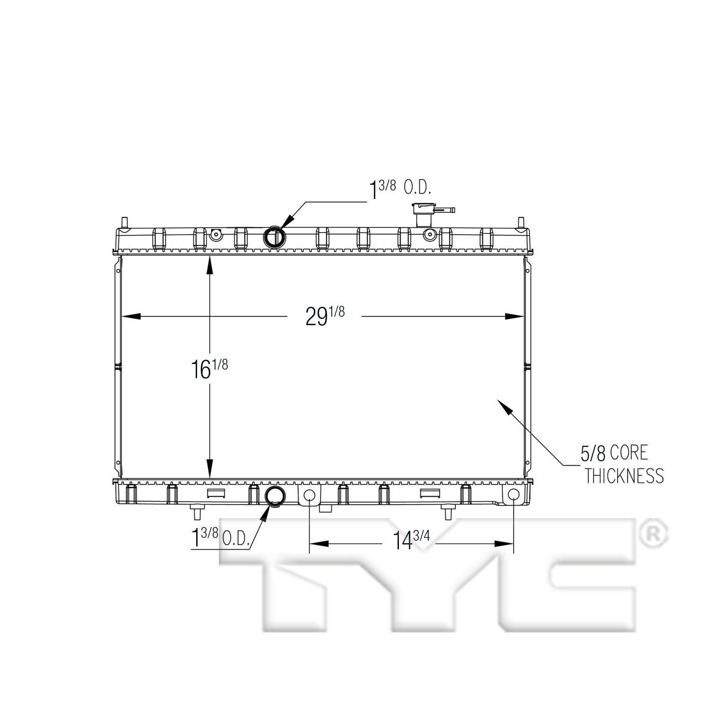 TYC # 13431 Radiator Replaces OE # 21460-4BA0A