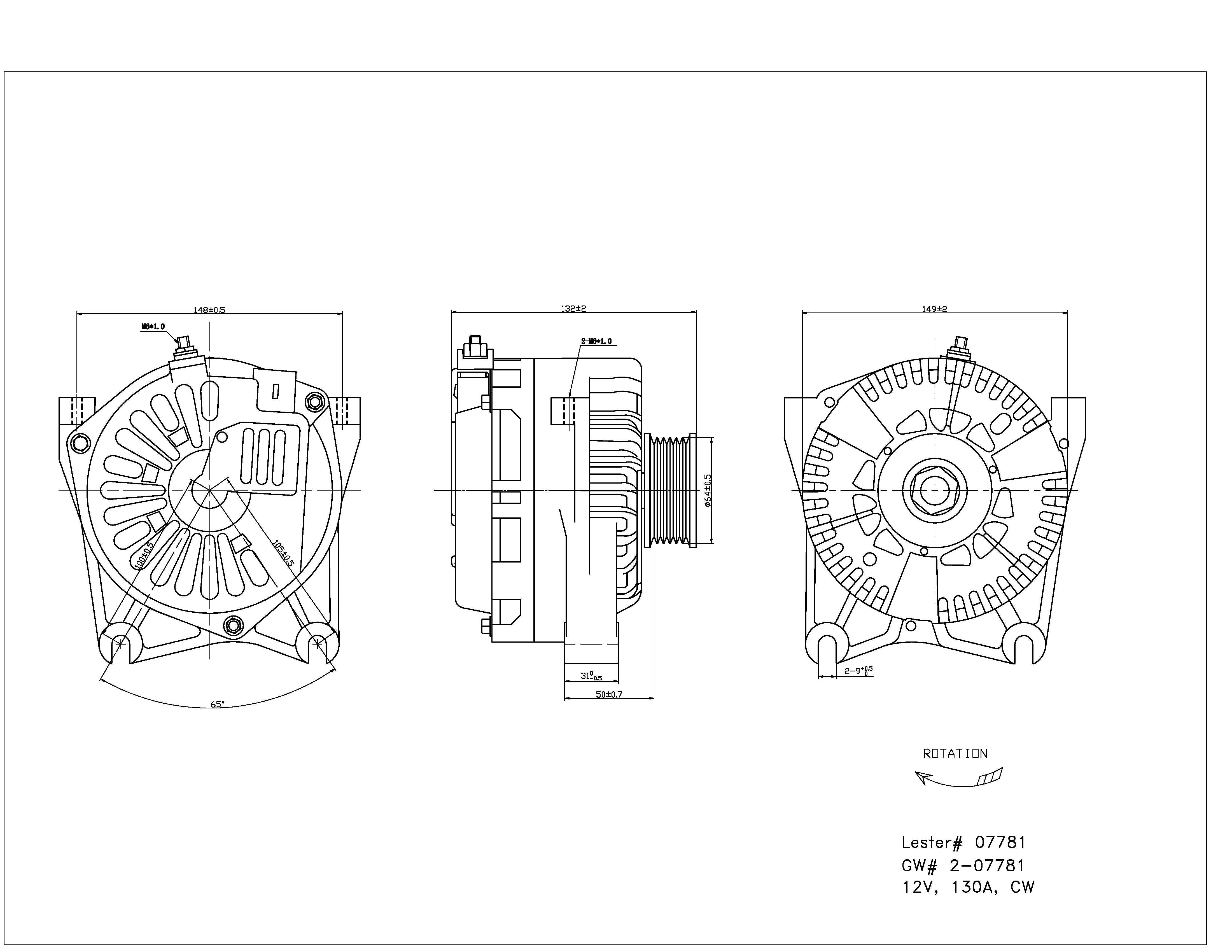 TYC # 2-07781 Alternator Fits OE # YR3Z-10346-AA