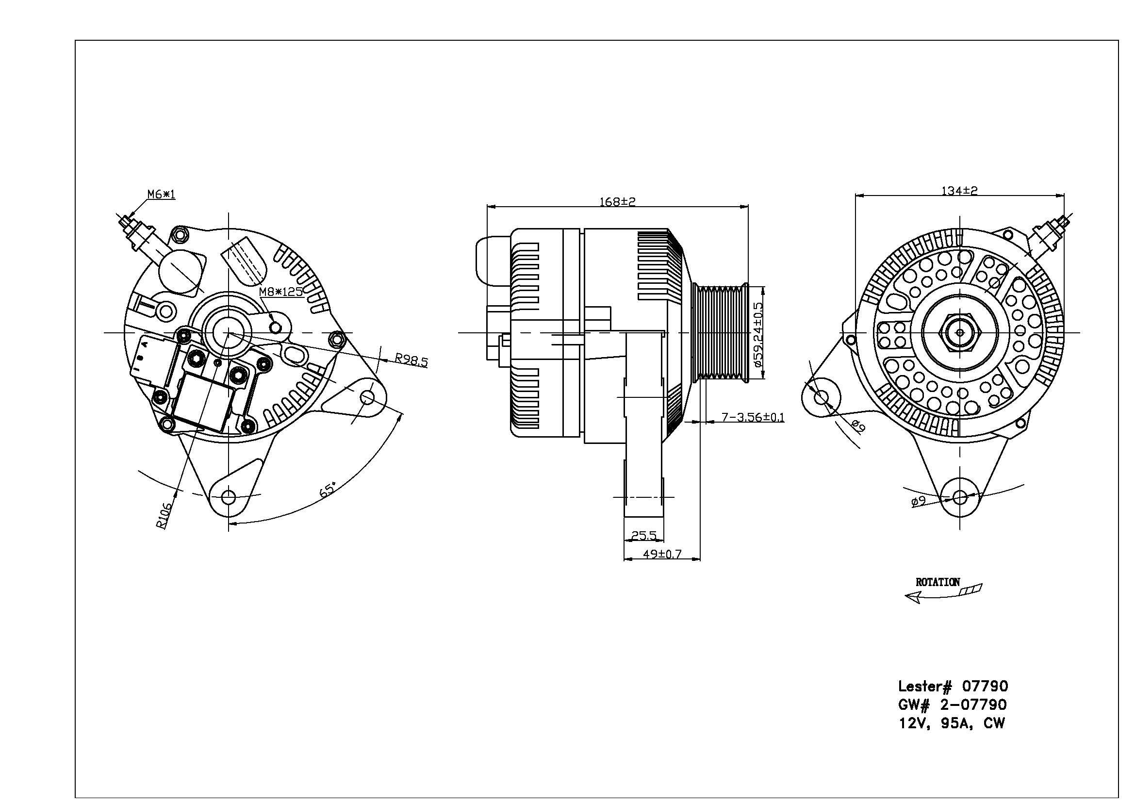 TYC # 2-07790 Alternator Fits OE # F6PZ-10346-RA