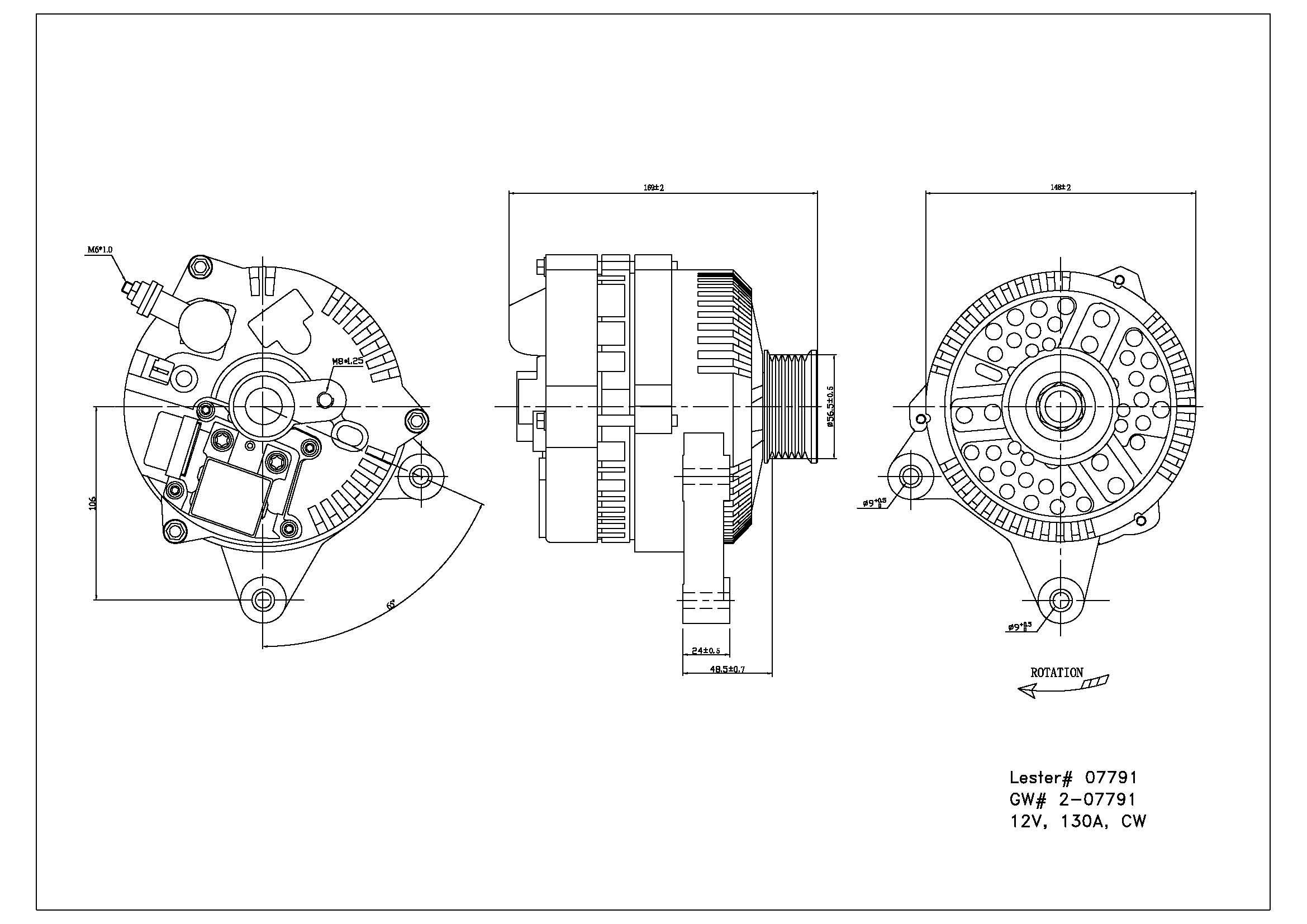 TYC # 2-07791 Alternator Fits OE # F7PZ-10346-KARM1