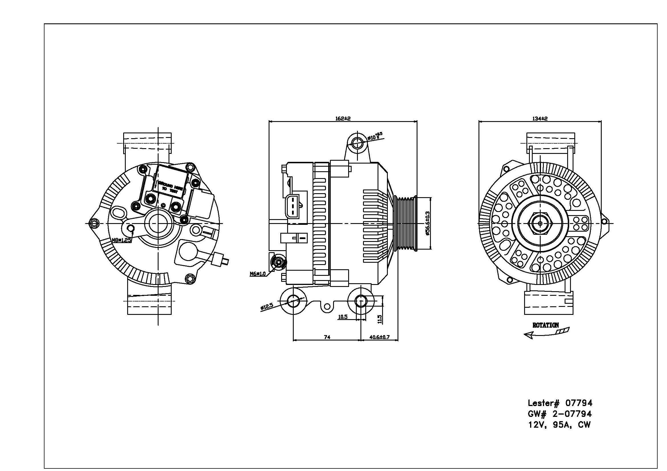 TYC # 2-07794 Alternator Fits OE # F7PZ-10346-JA