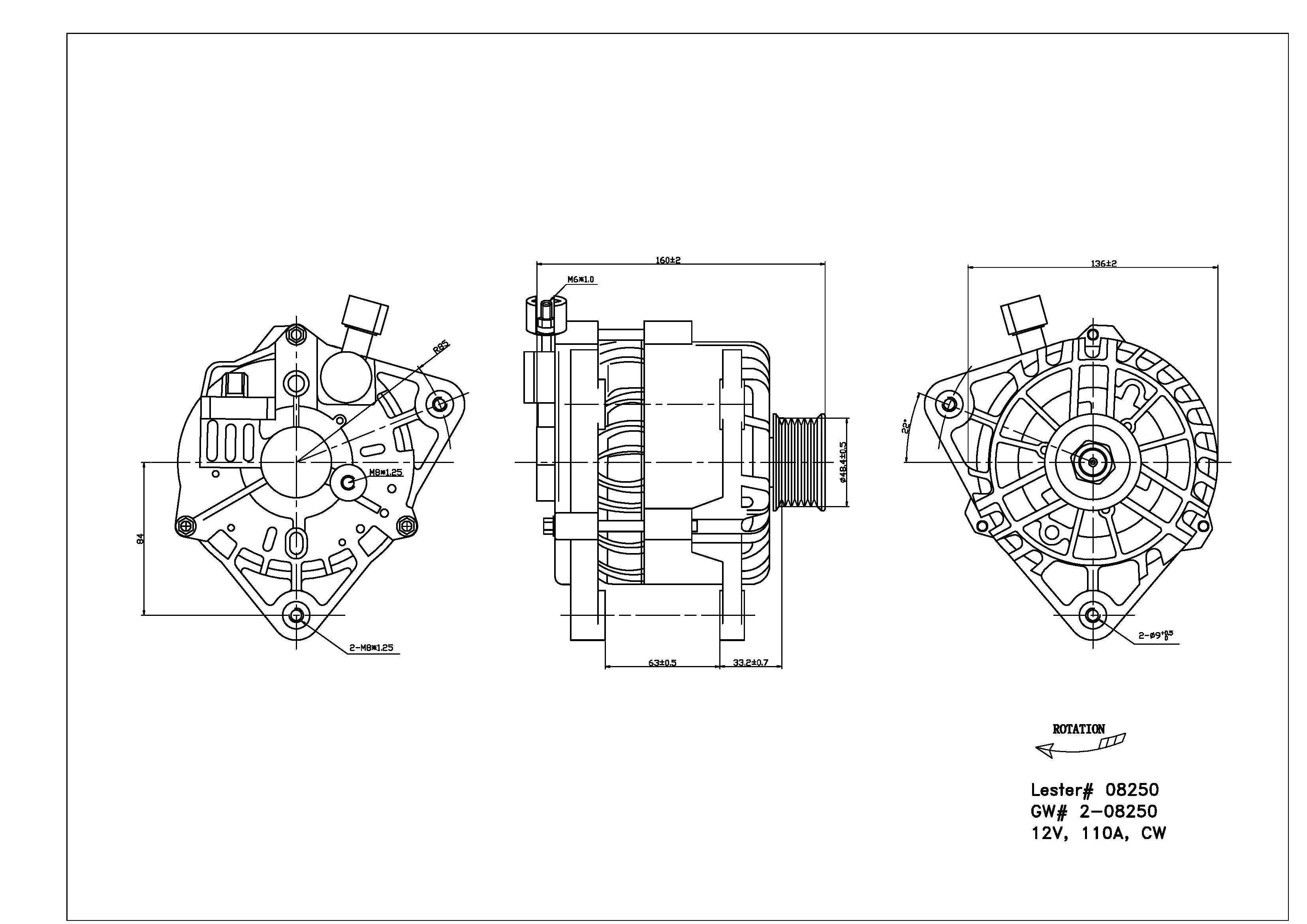 TYC # 2-08250 Alternator Fits OE # XS8Z-10346-BB