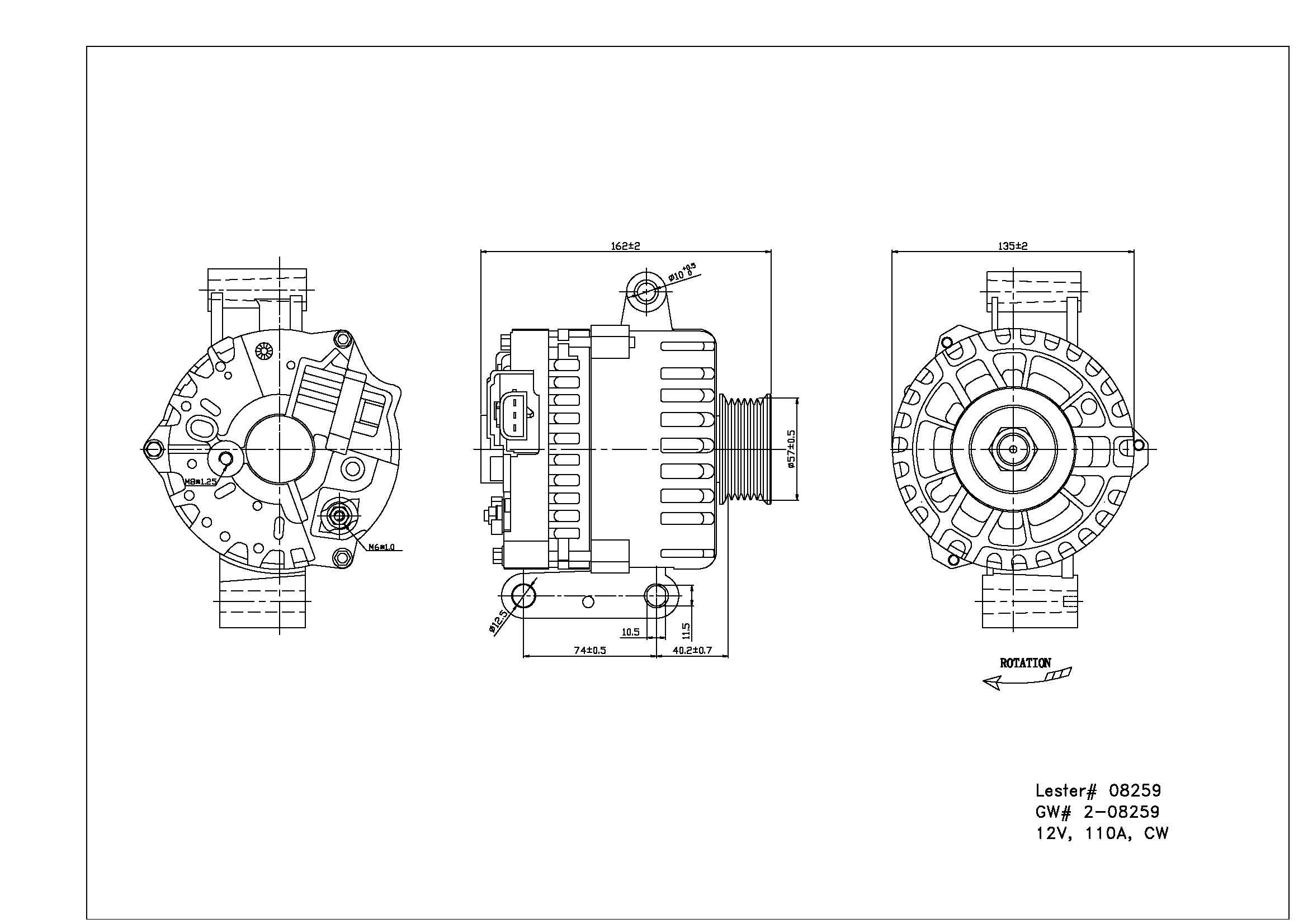 TYC # 2-08259 Alternator Fits OE # F6PZ-10346-RA