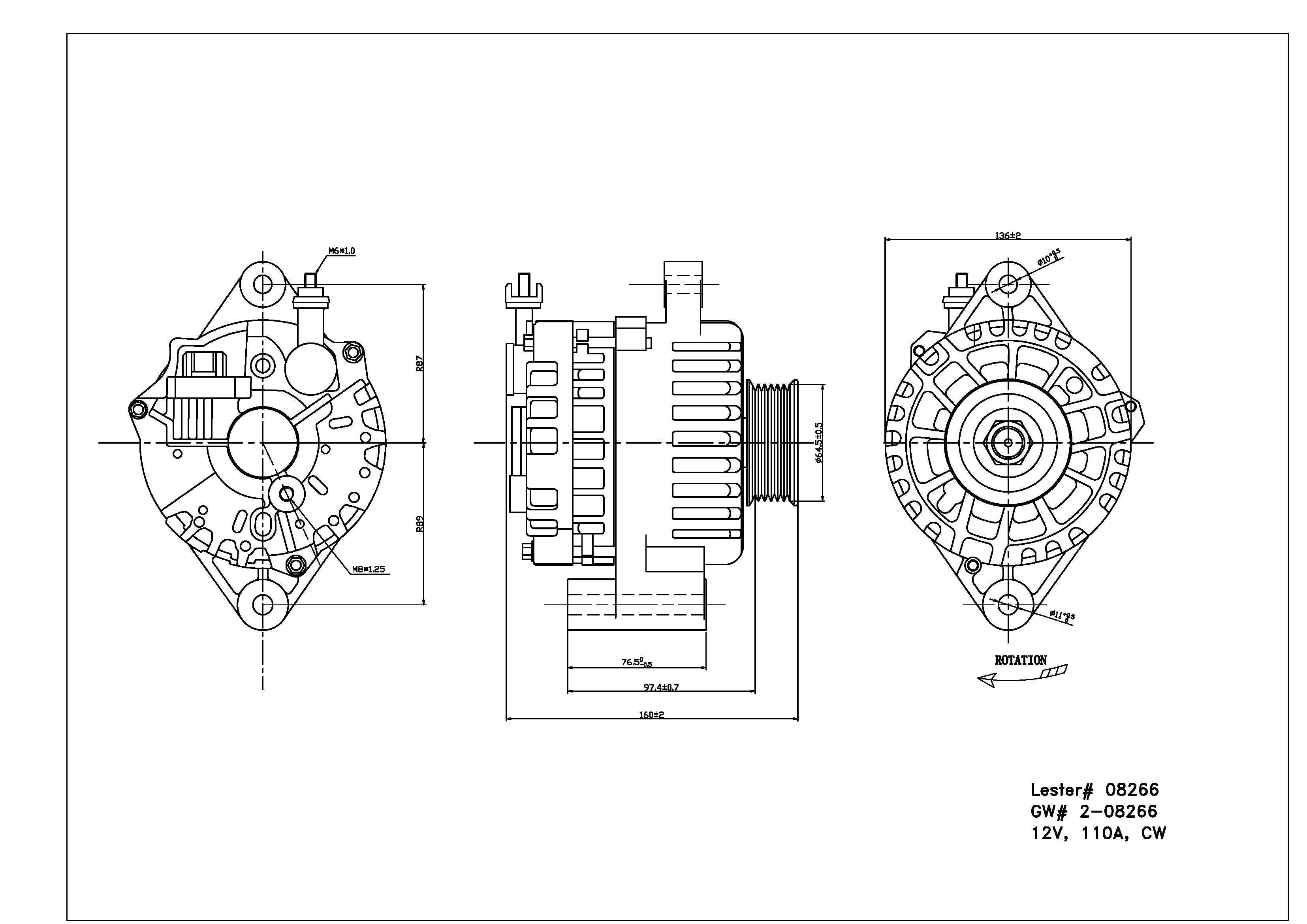 TYC # 2-08266 Alternator Fits OE # 1R3Z 10V346 ABRM
