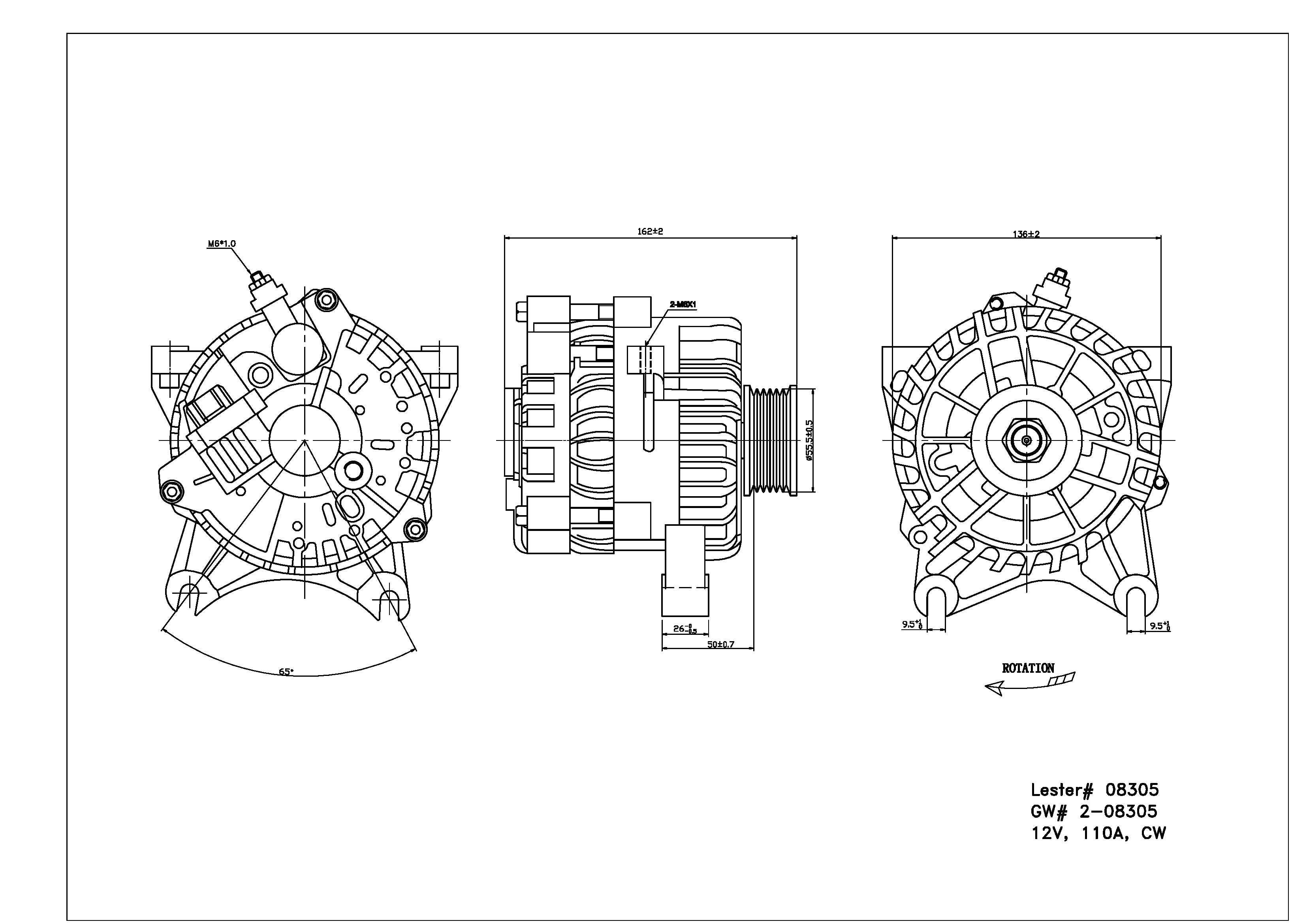 TYC # 2-08305 Alternator Fits OE # 2L7Z-10346-BA