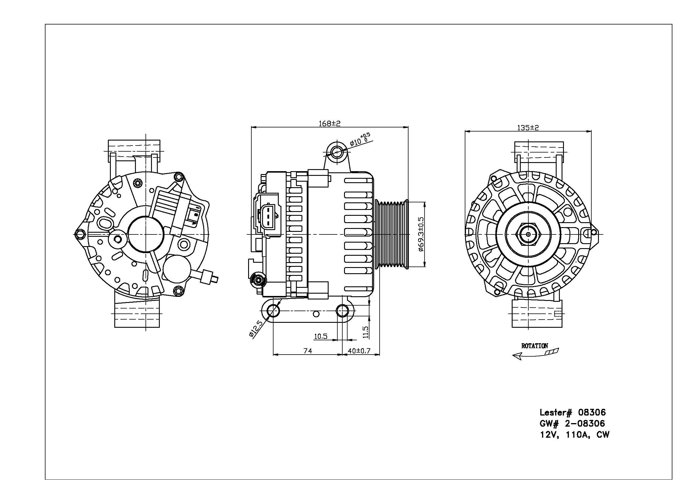 TYC # 2-08306 Alternator Fits OE # 4C3Z-10346-AA