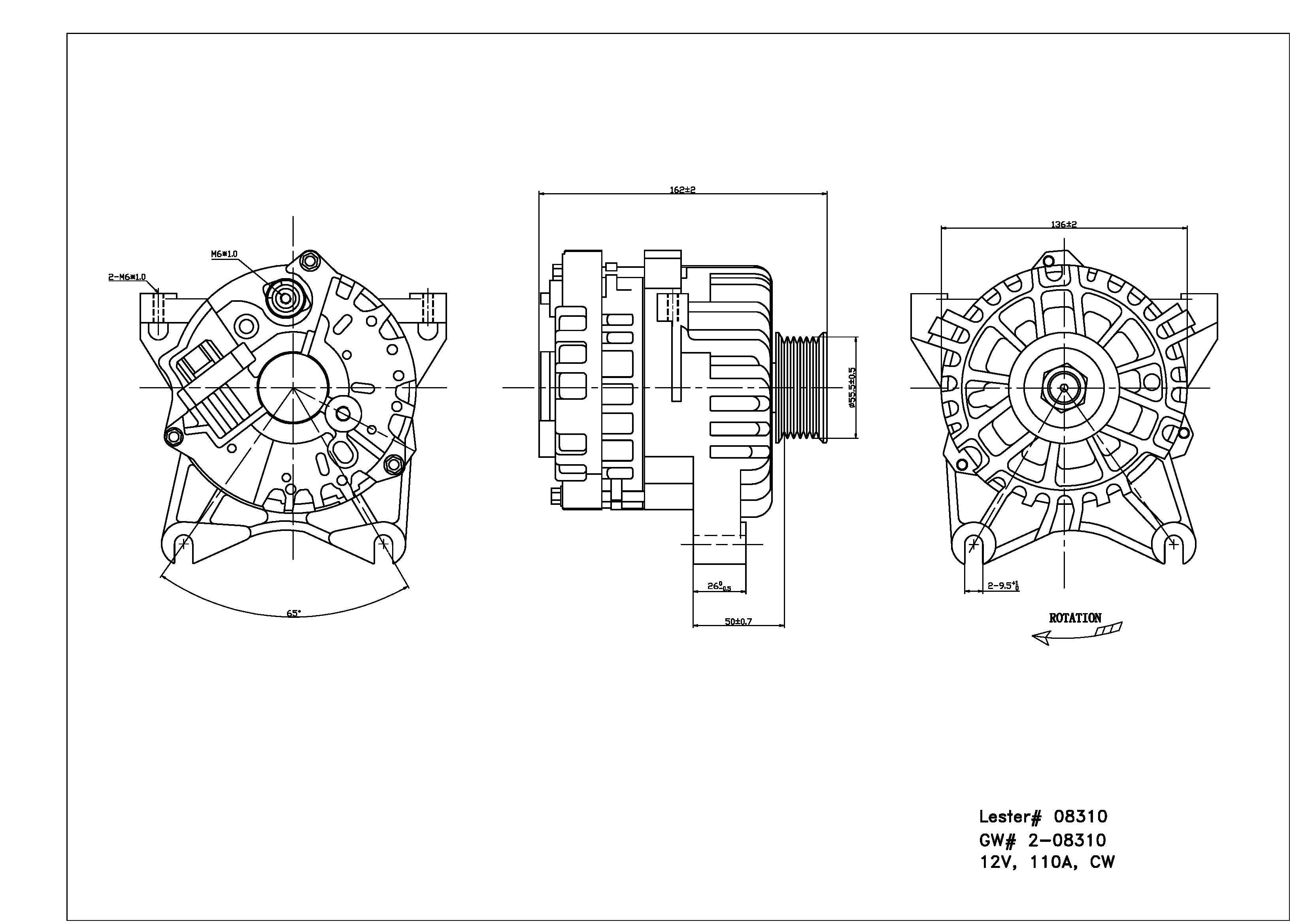 TYC # 2-08310 Alternator Fits OE # 3C3Z-10346-DA