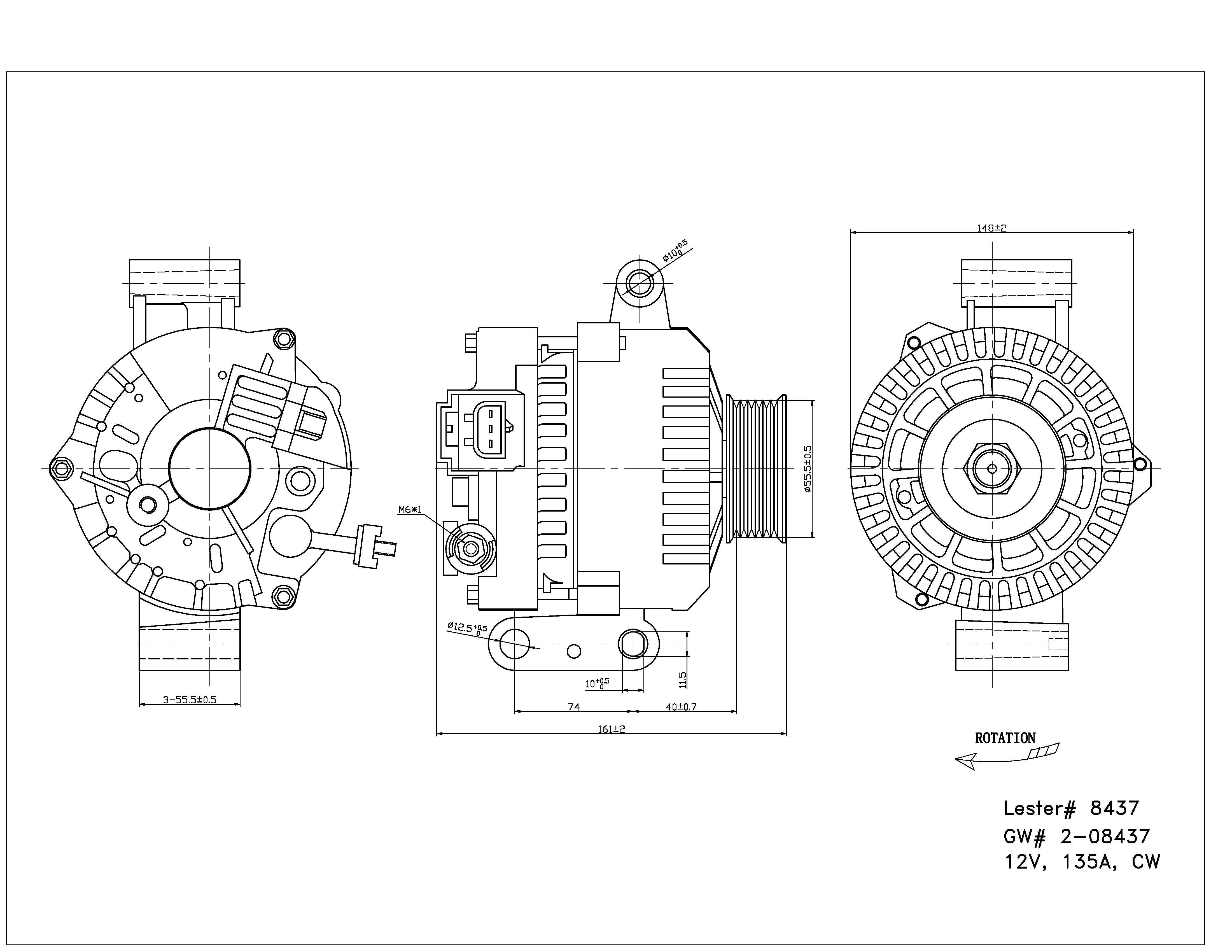 TYC # 2-08437 Alternator Fits OE # 6R3Z-10346-A