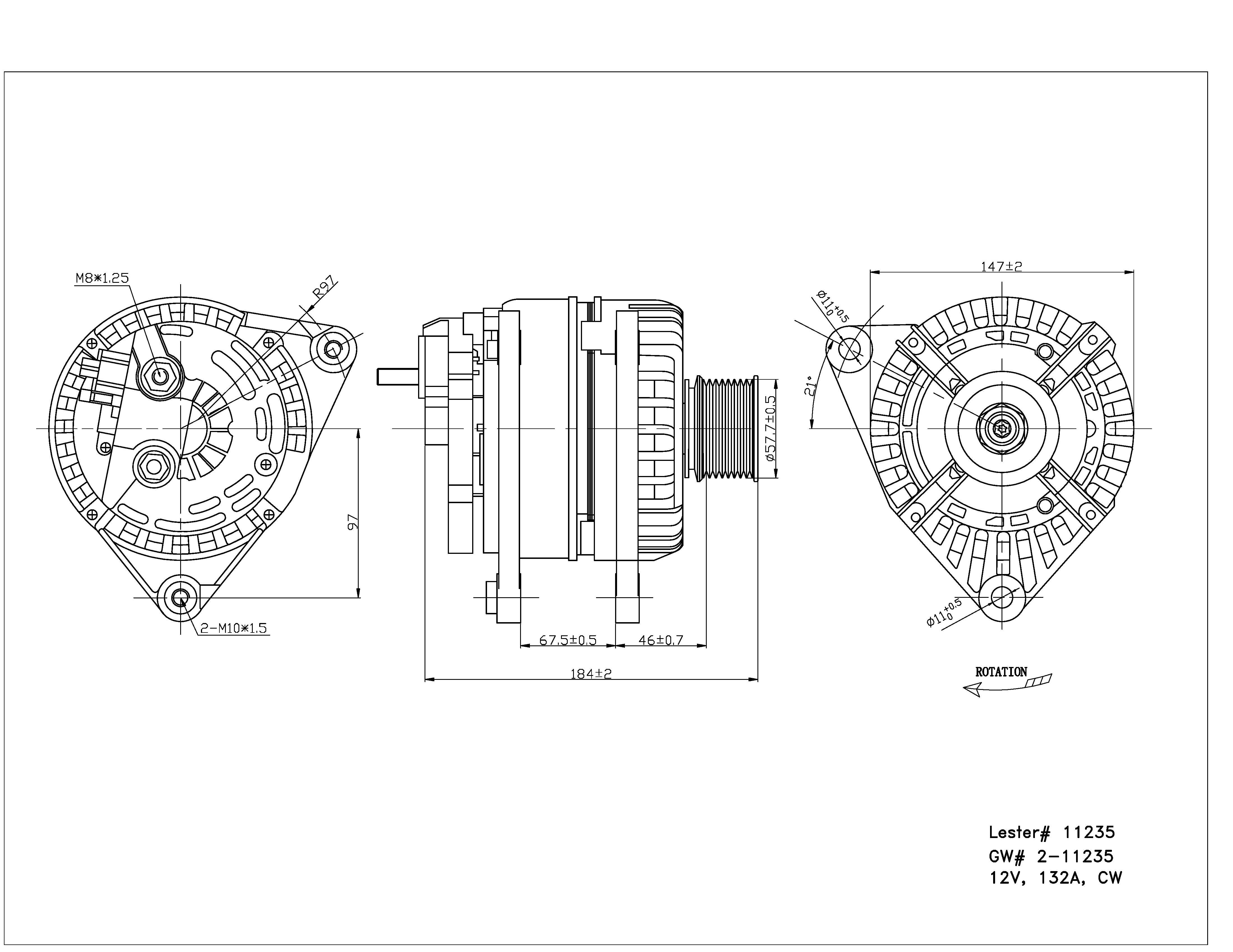 TYC # 2-11235 Alternator Fits OE # 4801475AA