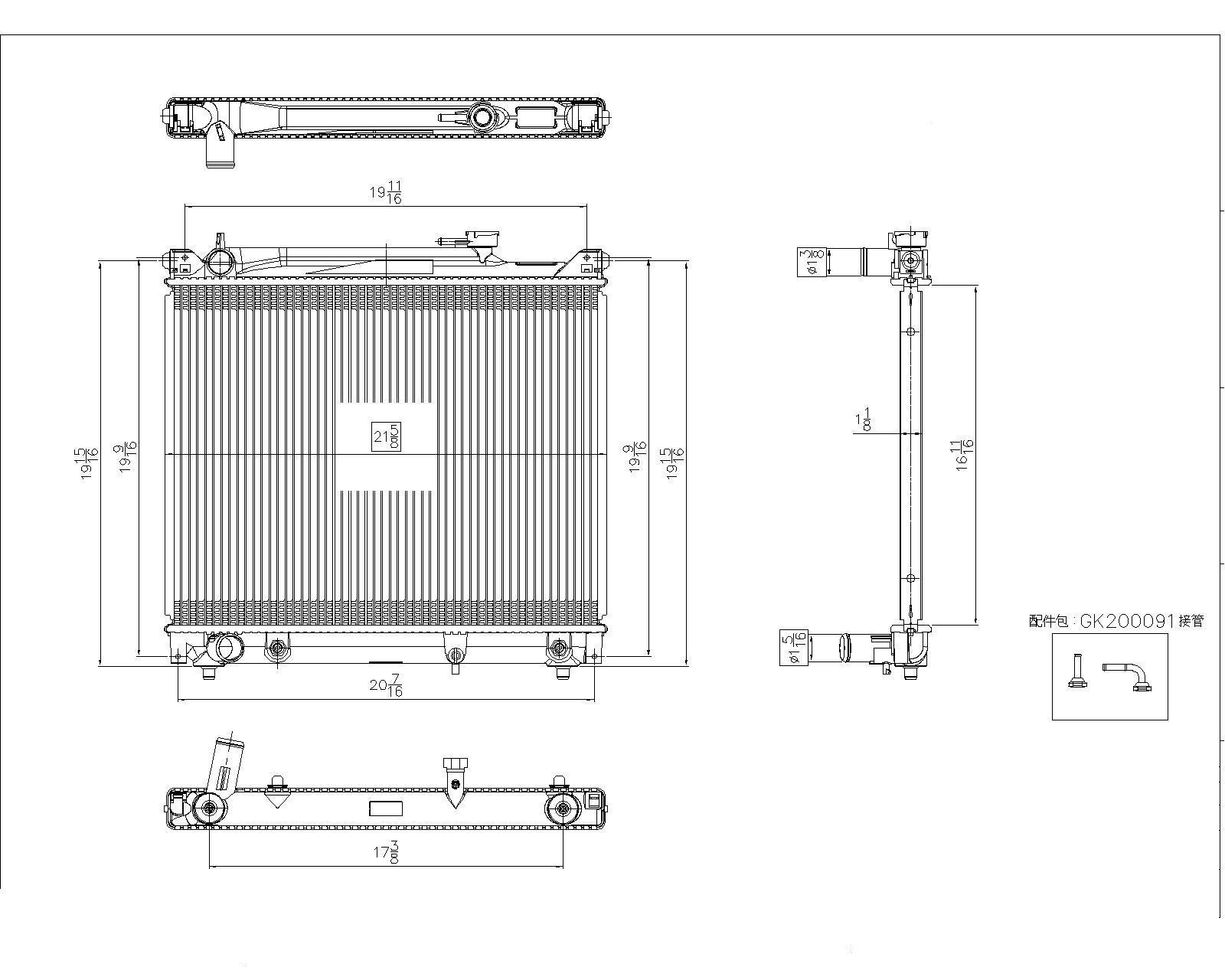 TYC # 2506 Radiator Replaces OE # 91174507