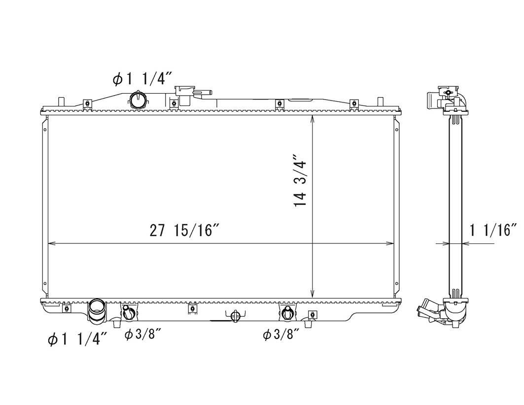 TYC # 2783 Radiator Replaces OE # 19010-RCJ-A52