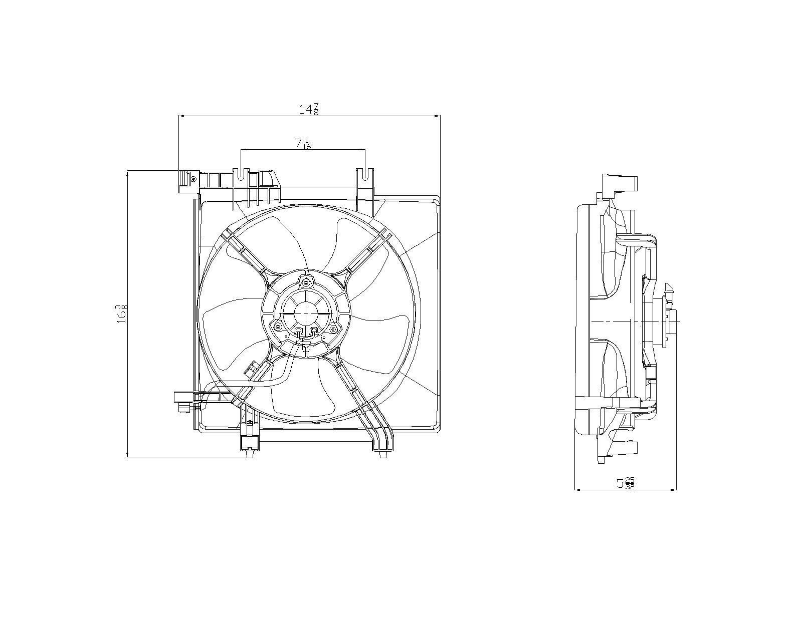 TYC # 601070 Radiator Fan Replaces OE # 45121AG02A