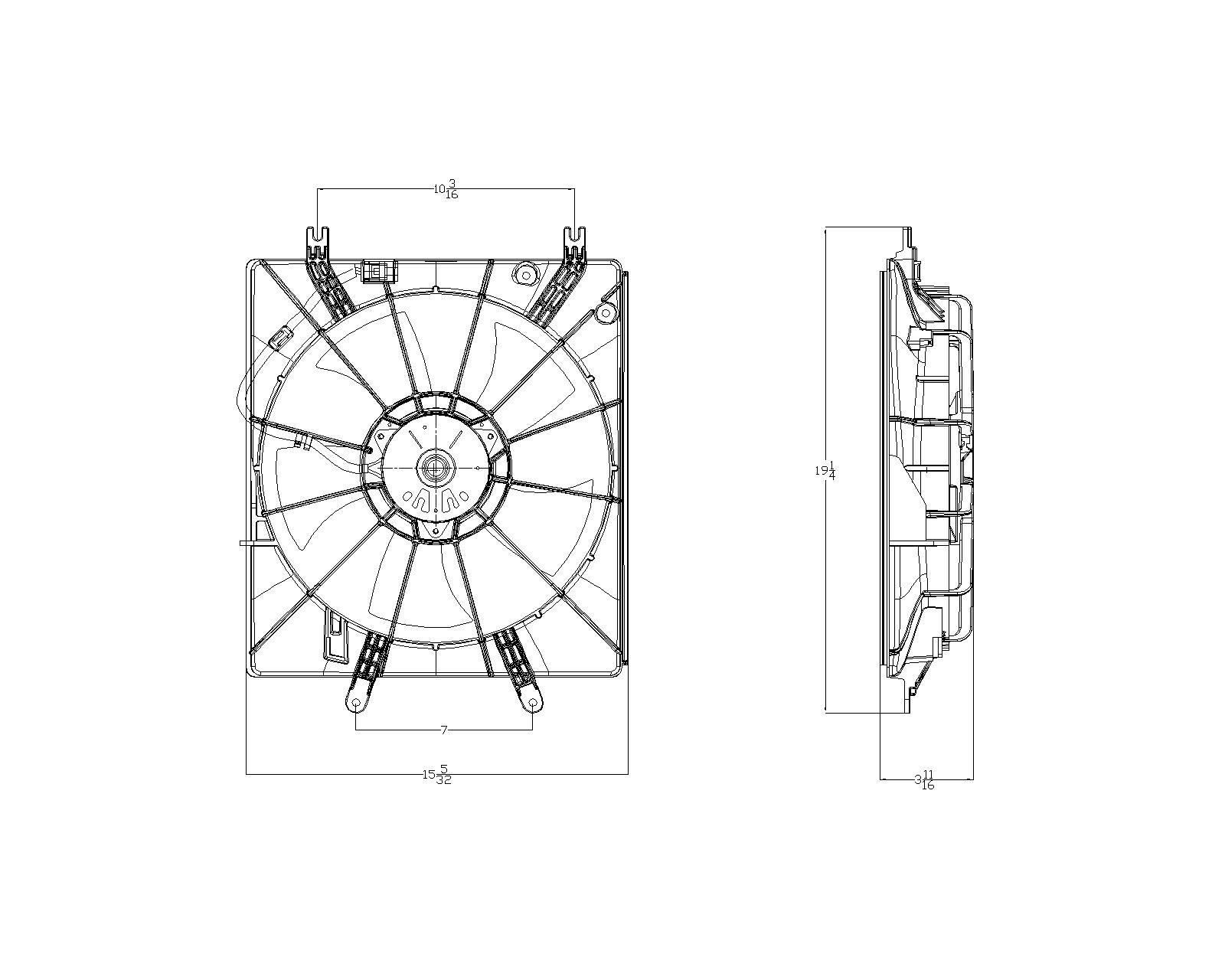 TYC # 601150 Radiator Fan Fits OE # 19015-RDA-A01