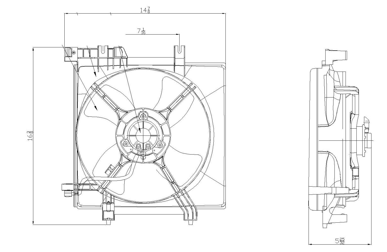 TYC # 601170 Radiator Fan Fits OE # 45122AG000