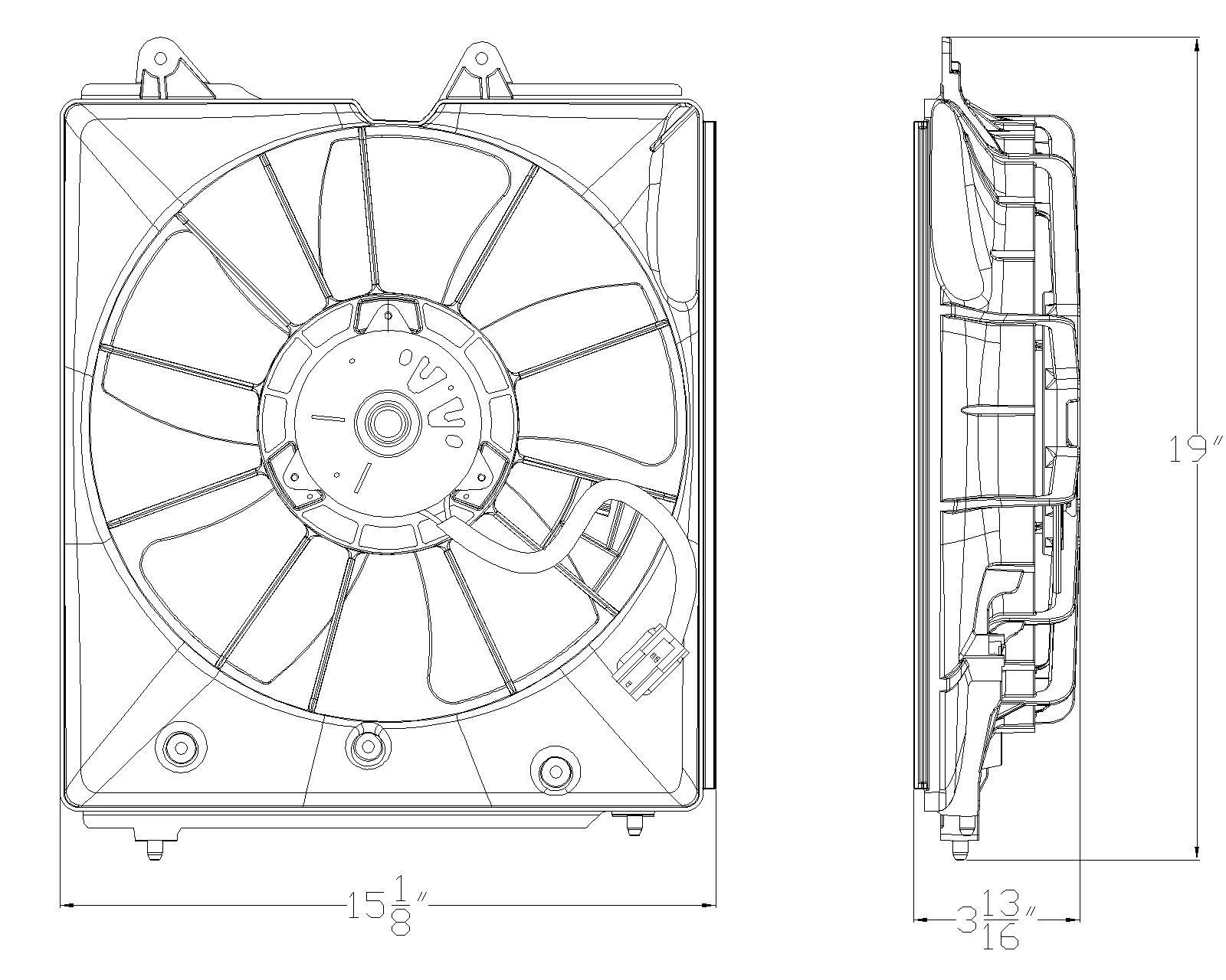 TYC # 601200 Radiator Fan Fits OE # 19015-RK1-A01