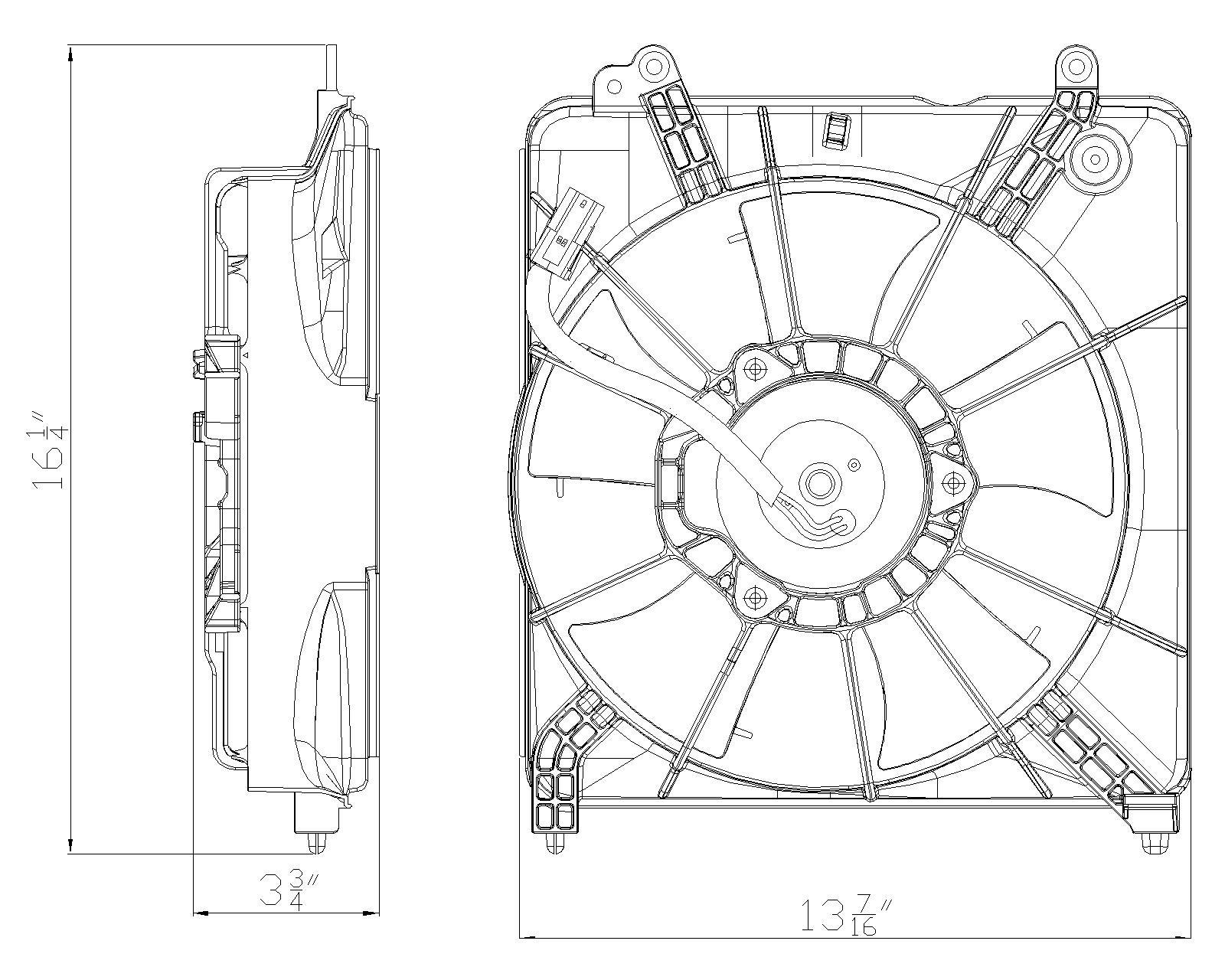 TYC # 601210 Radiator Fan Fits OE # 19015-RB0-004