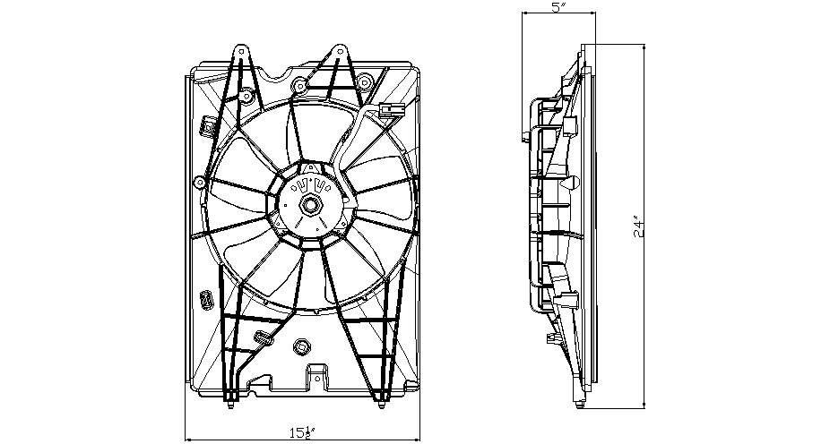 TYC # 601230 Radiator Fan Fits OE # 19030-RN0-A51