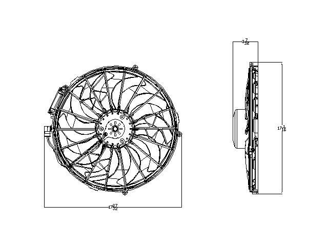 TYC # 611230 Radiator Fan Fits OE # 64 54 1 392 913
