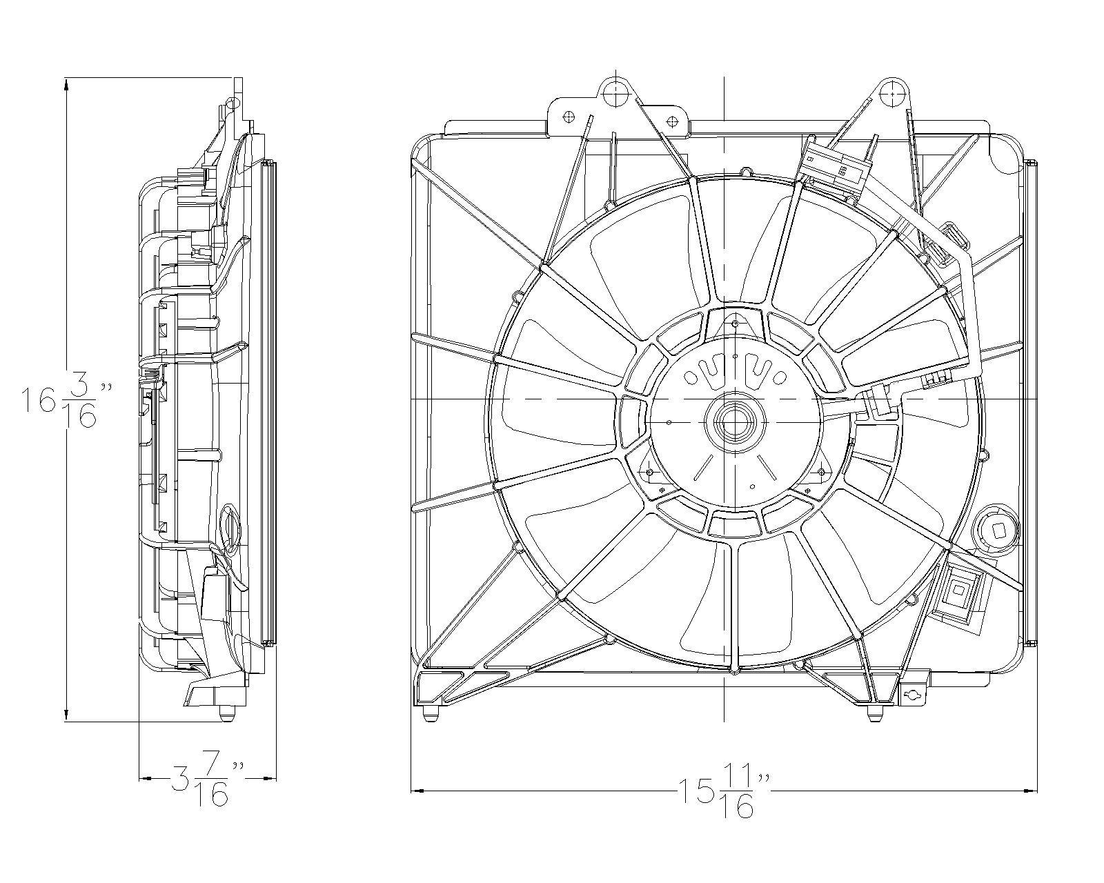 TYC # 611290 Radiator Fan Fits OE # 38615-RB1-J51