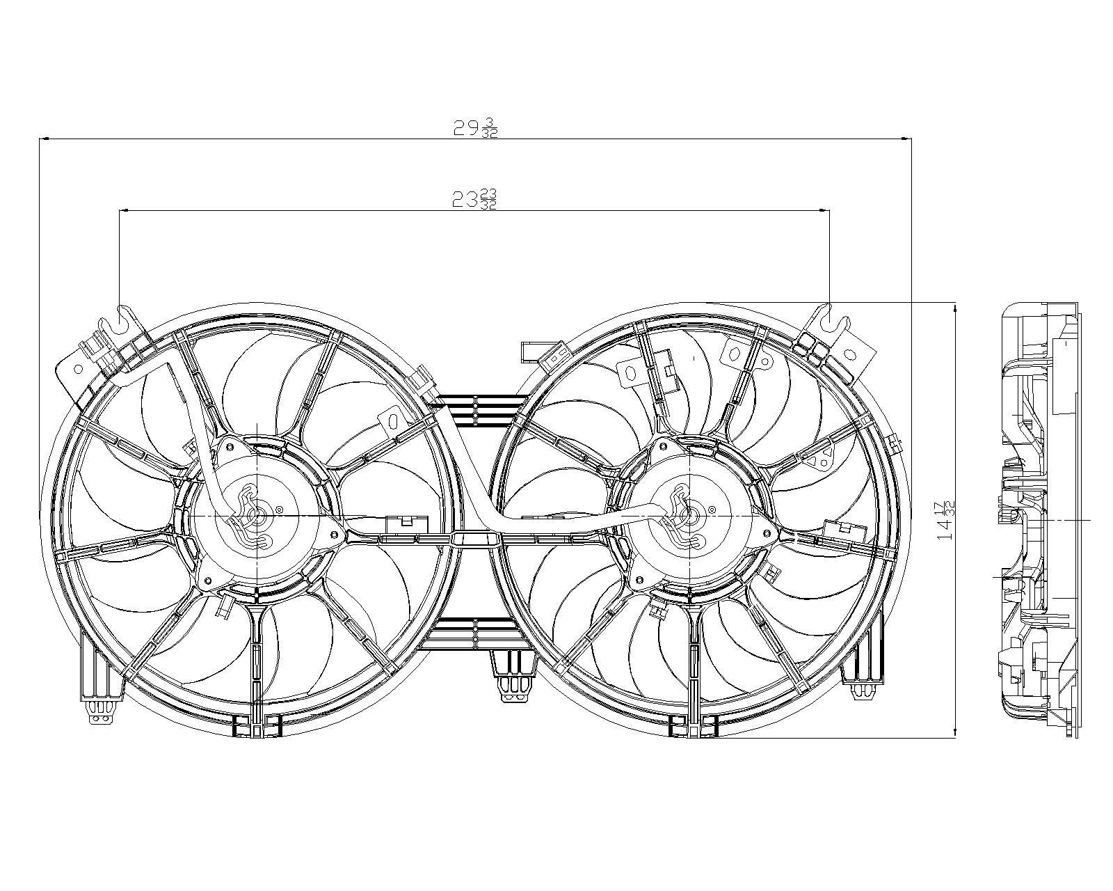 TYC # 621660 Radiator Fan Replaces OE # 21481-JA100