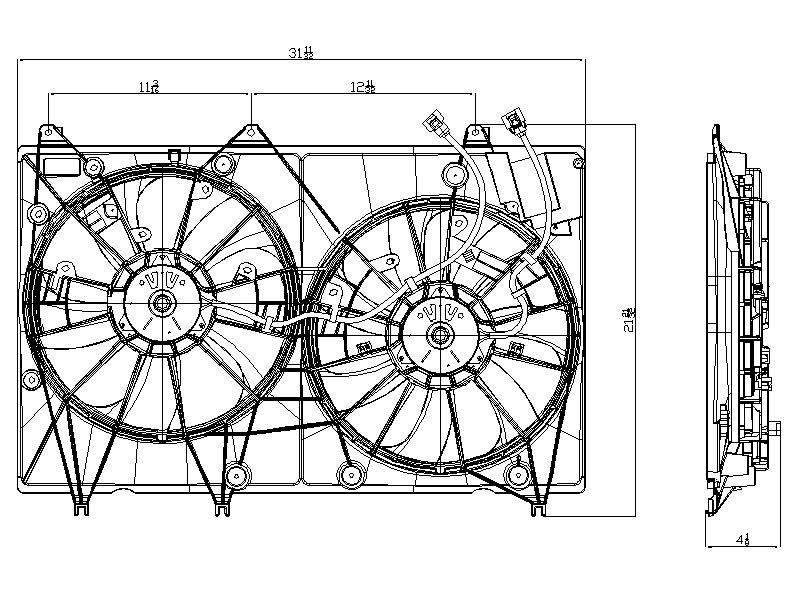 TYC # 622000 Radiator Fan Fits OE # 16361-0P170