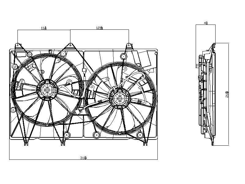 TYC # 622010 Radiator Fan Fits OE # 16363-0P230