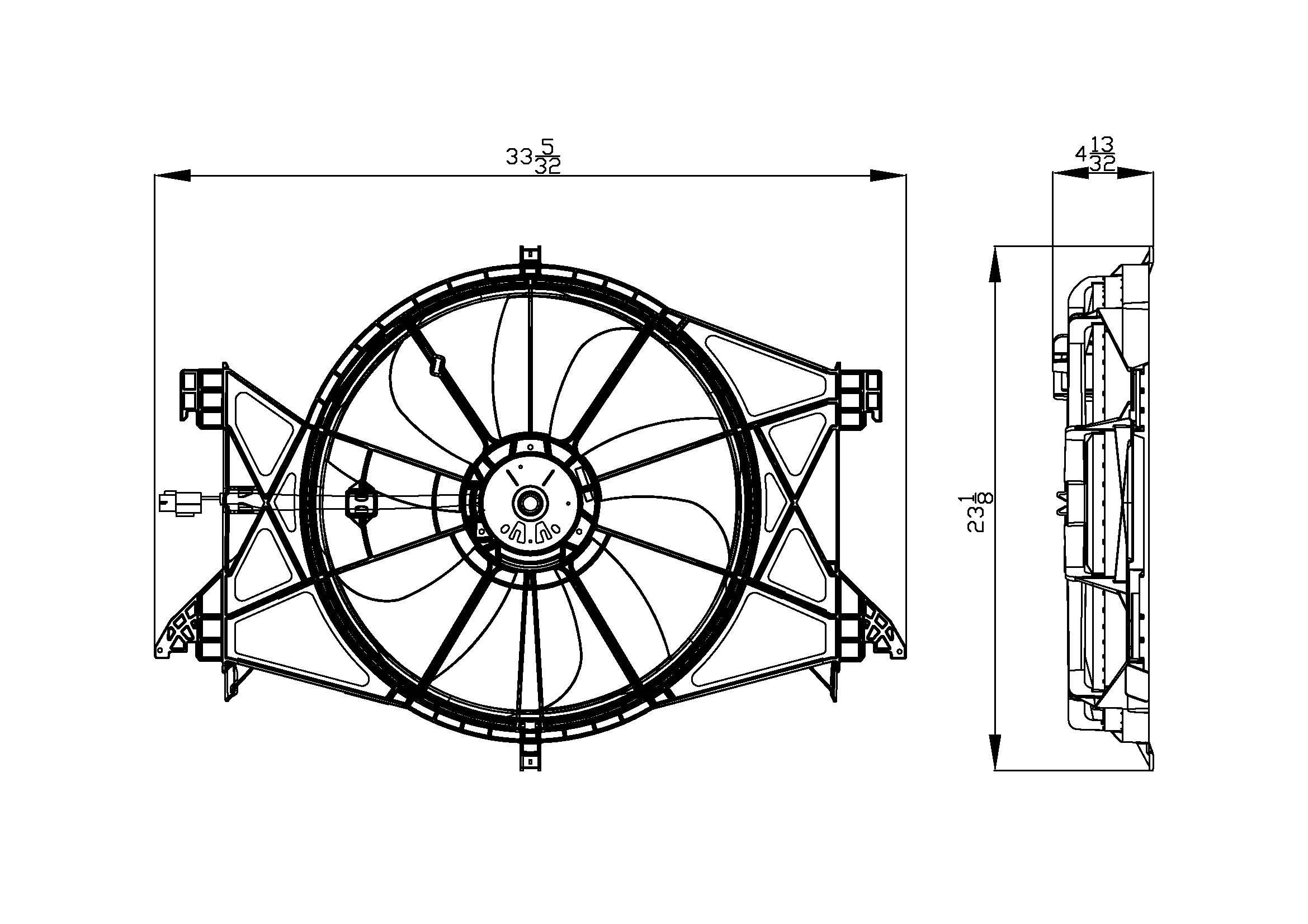 TYC # 622360 Radiator Fan Fits OE # 55056948AE