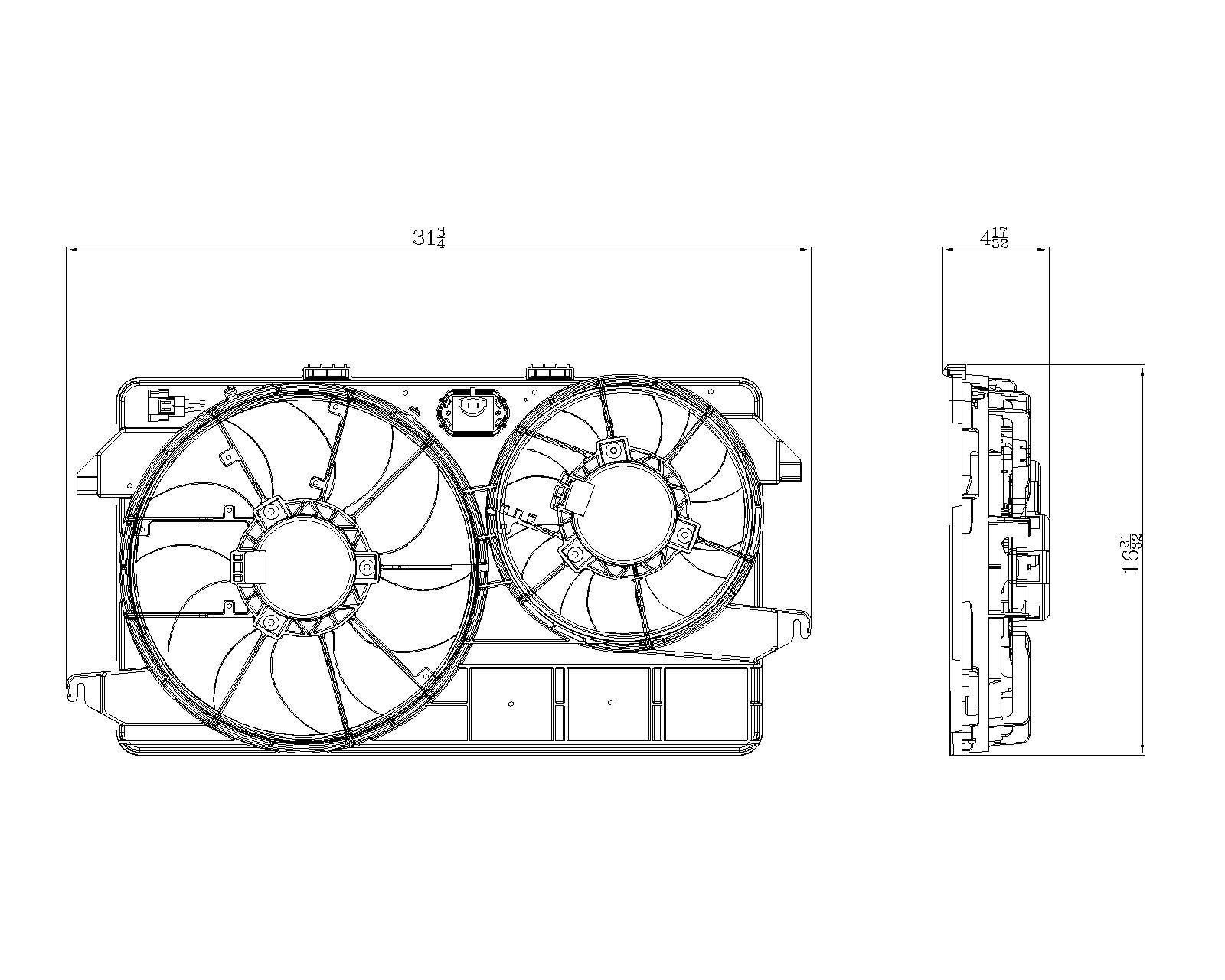 TYC # 622370 Radiator Fan Fits OE # 9T1Z 8C607A