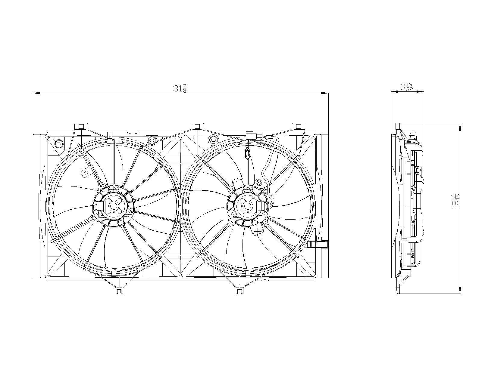 TYC # 622420 Radiator Fan Fits OE # 16711-0V101