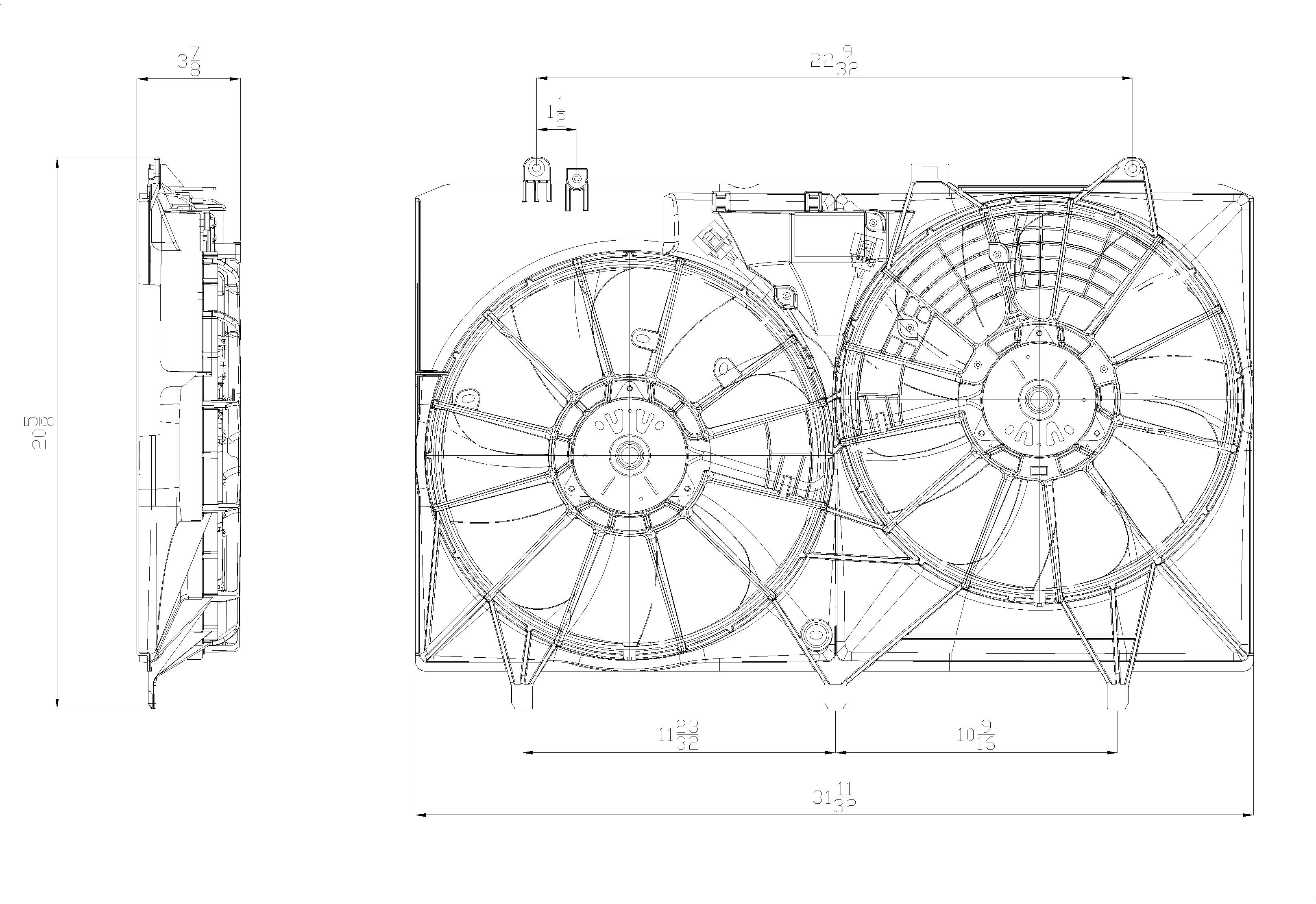 TYC # 622680 Radiator Fan Fits OE # 16711-31460